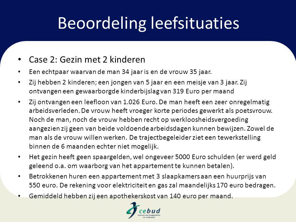 Beoordeling leefsituaties • Case 2: Gezin met 2 kinderen • Een echtpaar waarvan de man 34 jaar is en de vrouw 35 jaar. • Zij hebben 2 kinderen; een jo