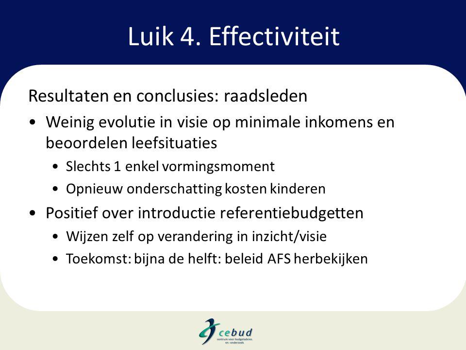 Luik 4. Effectiviteit Resultaten en conclusies: raadsleden •Weinig evolutie in visie op minimale inkomens en beoordelen leefsituaties •Slechts 1 enkel