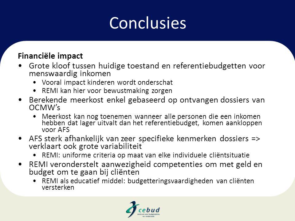 Conclusies Financiële impact •Grote kloof tussen huidige toestand en referentiebudgetten voor menswaardig inkomen •Vooral impact kinderen wordt onders