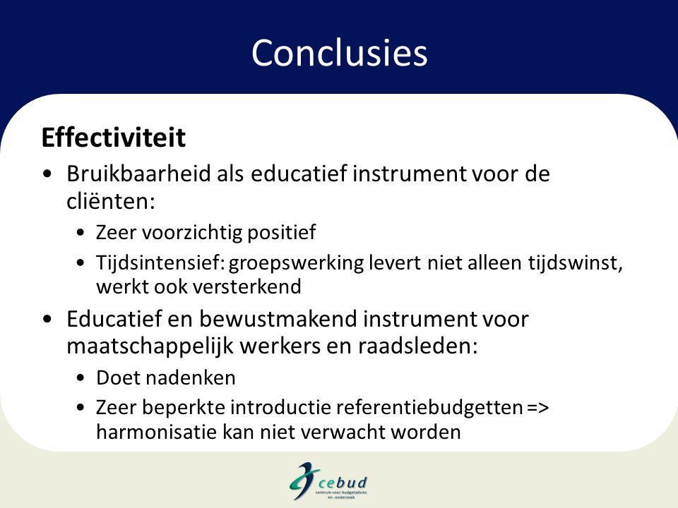 Conclusies Effectiviteit •Bruikbaarheid als educatief instrument voor de cliënten: •Zeer voorzichtig positief •Tijdsintensief: groepswerking levert ni