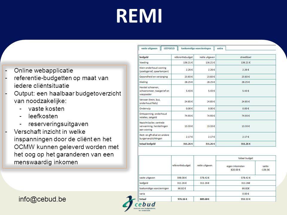 REMI -Online webapplicatie -referentie-budgetten op maat van iedere cliëntsituatie -Output: een haalbaar budgetoverzicht van noodzakelijke: -vaste kos