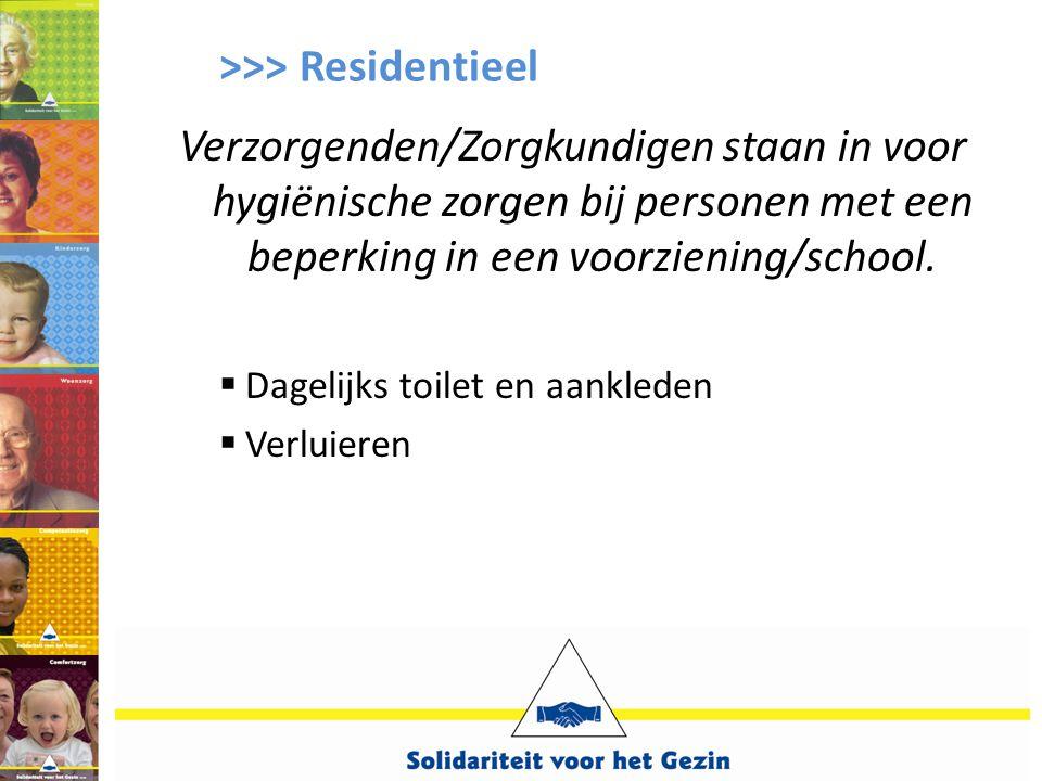 >>> Residentieel Verzorgenden/Zorgkundigen staan in voor hygiënische zorgen bij personen met een beperking in een voorziening/school.  Dagelijks toil