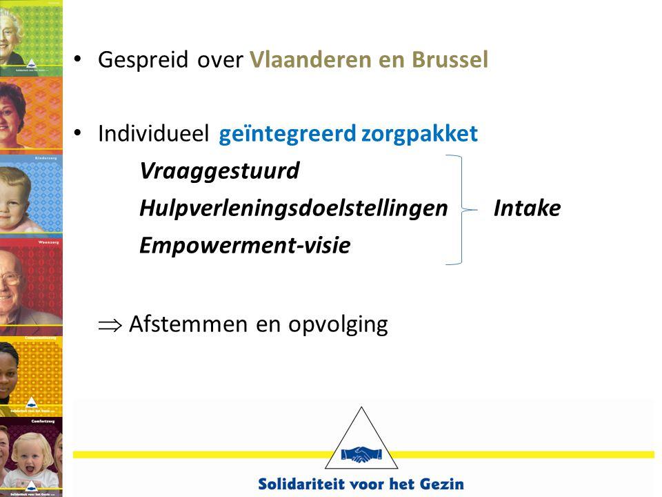 • Gespreid over Vlaanderen en Brussel • Individueel geïntegreerd zorgpakket Vraaggestuurd Hulpverleningsdoelstellingen Intake Empowerment-visie  Afst
