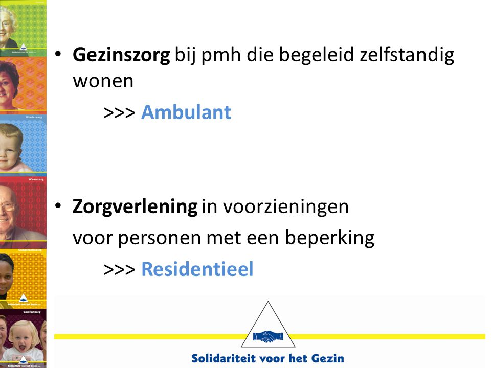 • Gezinszorg bij pmh die begeleid zelfstandig wonen >>> Ambulant • Zorgverlening in voorzieningen voor personen met een beperking >>> Residentieel