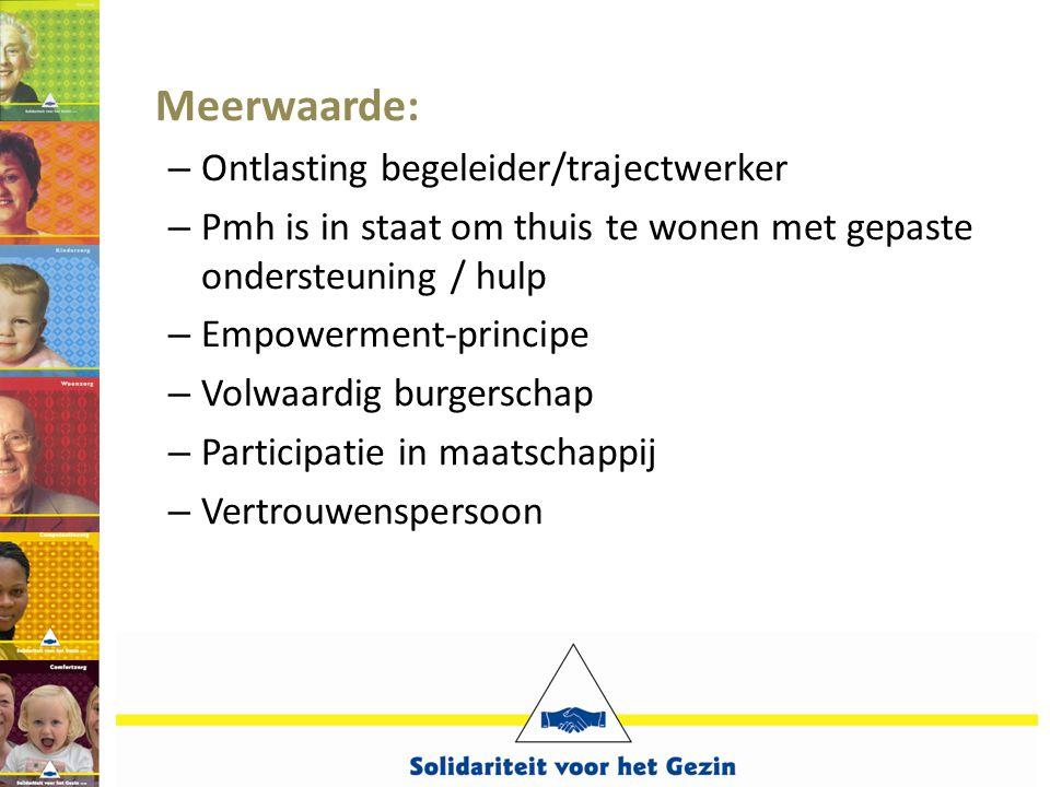 Meerwaarde: – Ontlasting begeleider/trajectwerker – Pmh is in staat om thuis te wonen met gepaste ondersteuning / hulp – Empowerment-principe – Volwaa