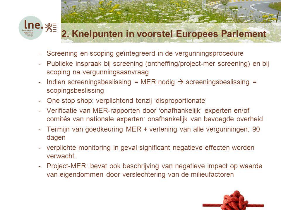 Netwerkmoment voor deskundigen5 mei 2014 2. Knelpunten in voorstel Europees Parlement -Screening en scoping geïntegreerd in de vergunningsprocedure -P