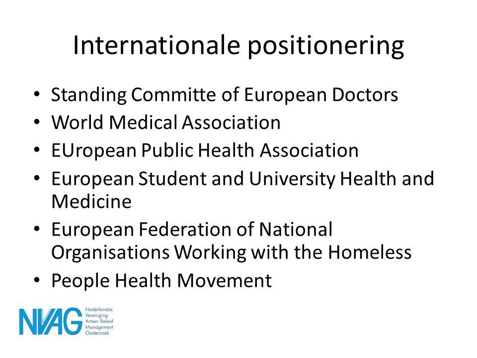 Internationale positionering • Standing Committe of European Doctors • World Medical Association • EUropean Public Health Association • European Stude