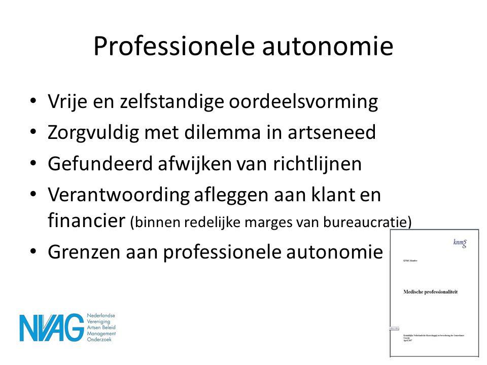 Professionele autonomie • Vrije en zelfstandige oordeelsvorming • Zorgvuldig met dilemma in artseneed • Gefundeerd afwijken van richtlijnen • Verantwo