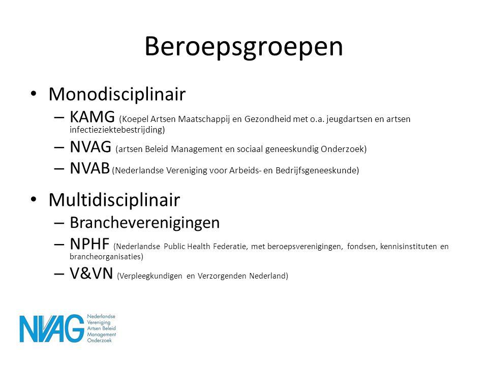 Beroepsgroepen • Monodisciplinair – KAMG (Koepel Artsen Maatschappij en Gezondheid met o.a. jeugdartsen en artsen infectieziektebestrijding) – NVAG (a