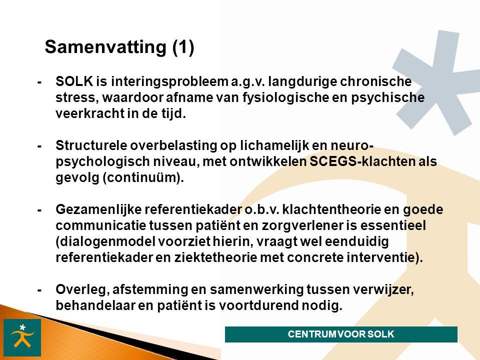 CENTRUM VOOR SOLK Samenvatting (1) - SOLK is interingsprobleem a.g.v.