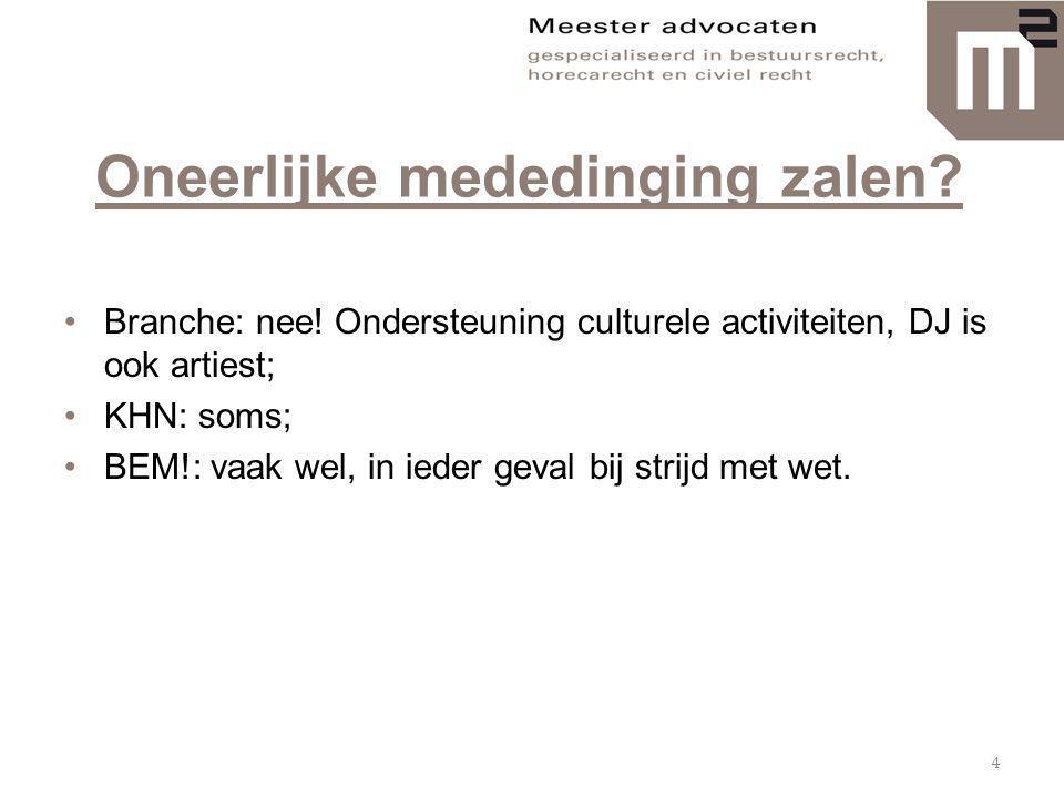 Oneerlijke mededinging zalen? •Branche: nee! Ondersteuning culturele activiteiten, DJ is ook artiest; •KHN: soms; •BEM!: vaak wel, in ieder geval bij