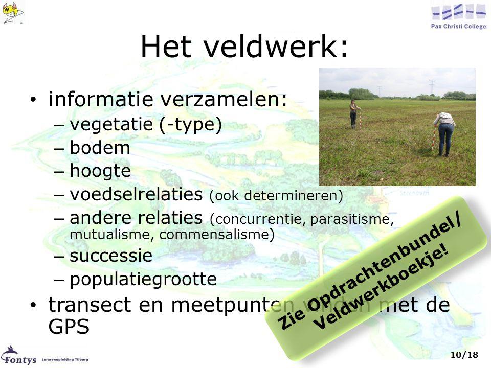 Het veldwerk: • informatie verzamelen: – vegetatie (-type) – bodem – hoogte – voedselrelaties (ook determineren) – andere relaties (concurrentie, para