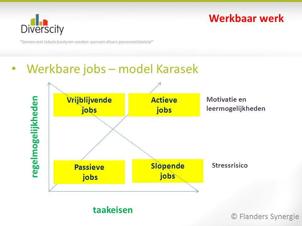 """""""Samen met lokale besturen werken aan een divers personeelsbeleid"""" • Werkbare jobs – model Karasek Werkbaar werk taakeisen regelmogelijkheden Passieve"""