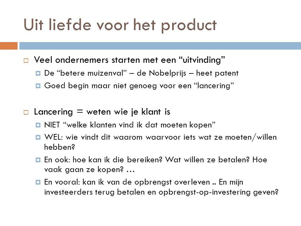 """Uit liefde voor het product  Veel ondernemers starten met een """"uitvinding""""  De """"betere muizenval"""" – de Nobelprijs – heet patent  Goed begin maar ni"""