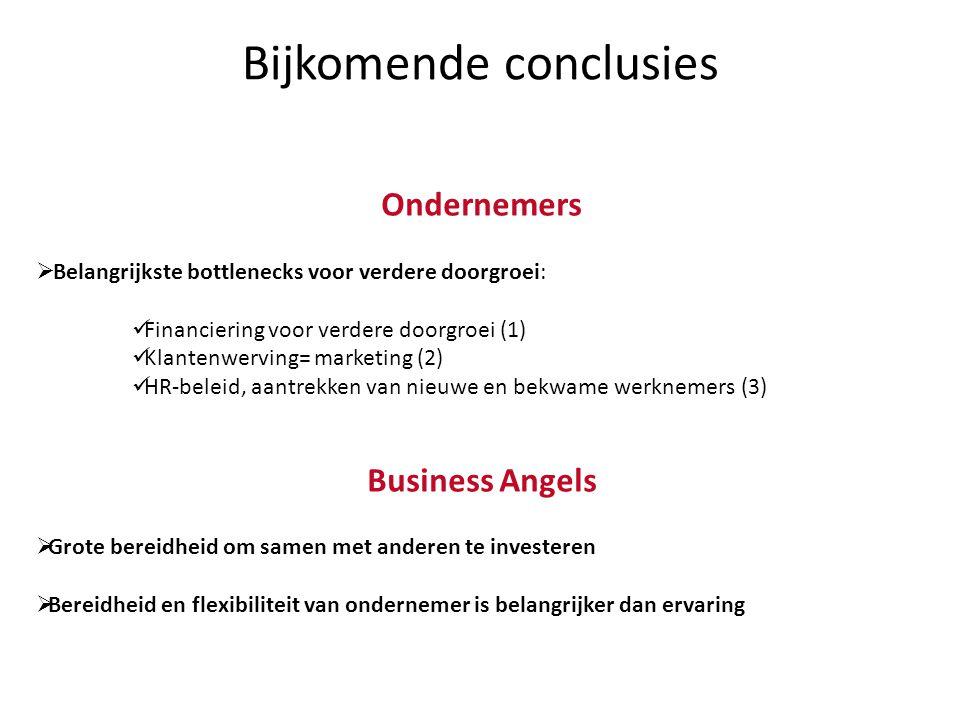 Bijkomende conclusies Ondernemers  Belangrijkste bottlenecks voor verdere doorgroei:  Financiering voor verdere doorgroei (1)  Klantenwerving= mark