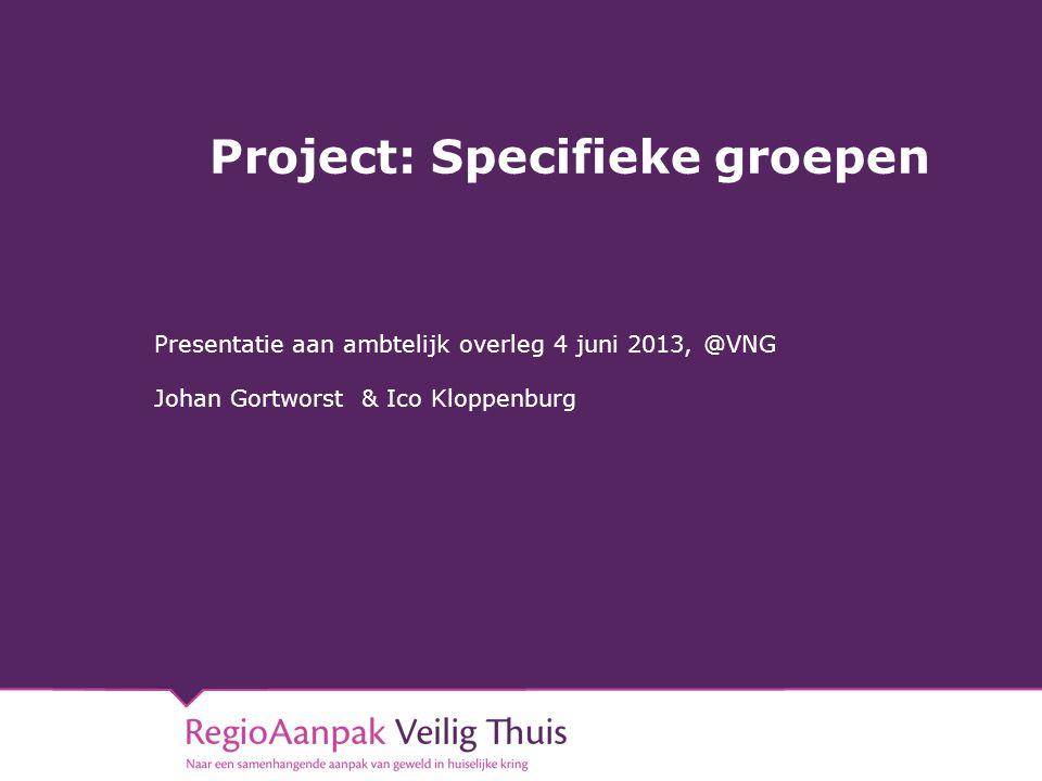 Project: Specifieke groepen Presentatie aan ambtelijk overleg 4 juni 2013, @VNG Johan Gortworst & Ico Kloppenburg