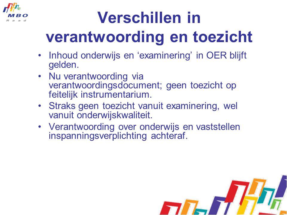 Verschillen in verantwoording en toezicht •Inhoud onderwijs en 'examinering' in OER blijft gelden.