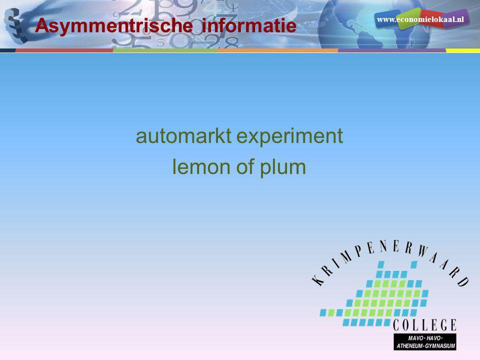 www.economielokaal.nl automarkt experiment lemon of plum Asymmentrische informatie