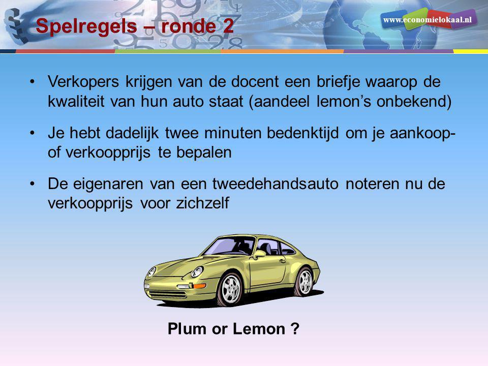 www.economielokaal.nl Spelregels – ronde 2 •Verkopers krijgen van de docent een briefje waarop de kwaliteit van hun auto staat (aandeel lemon's onbeke