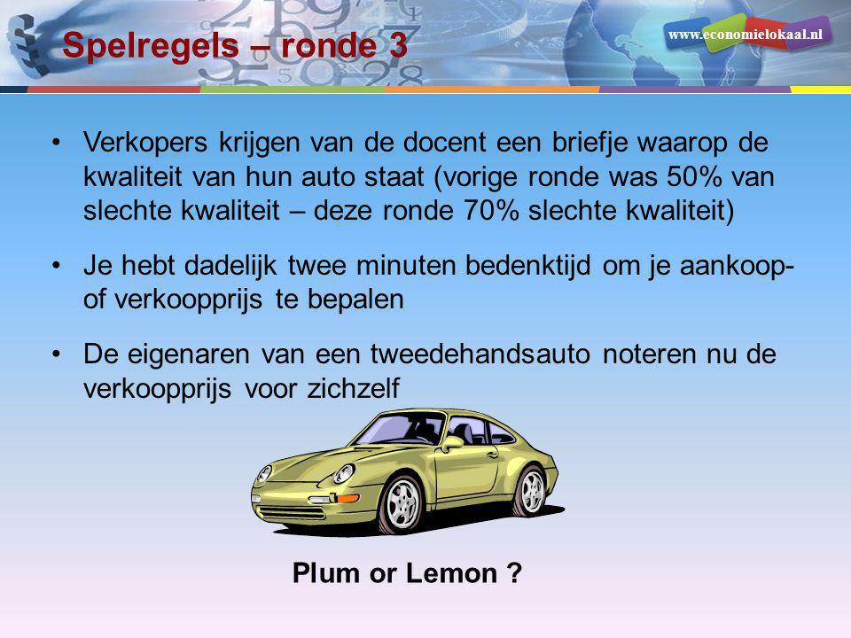 www.economielokaal.nl Spelregels – ronde 3 •Verkopers krijgen van de docent een briefje waarop de kwaliteit van hun auto staat (vorige ronde was 50% v