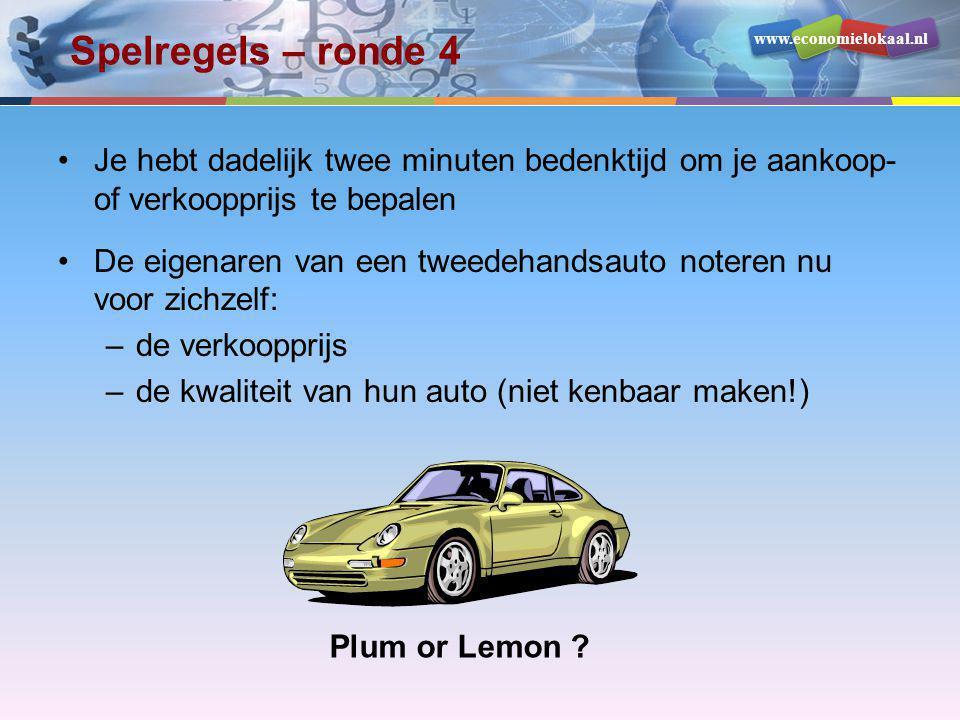 www.economielokaal.nl Spelregels – ronde 4 •Je hebt dadelijk twee minuten bedenktijd om je aankoop- of verkoopprijs te bepalen •De eigenaren van een t