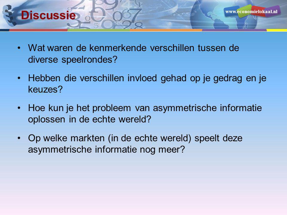www.economielokaal.nl Discussie •Wat waren de kenmerkende verschillen tussen de diverse speelrondes? •Hebben die verschillen invloed gehad op je gedra