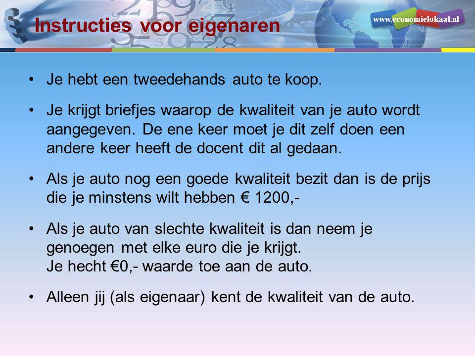 www.economielokaal.nl Instructies voor eigenaren •Je hebt een tweedehands auto te koop. •Je krijgt briefjes waarop de kwaliteit van je auto wordt aang