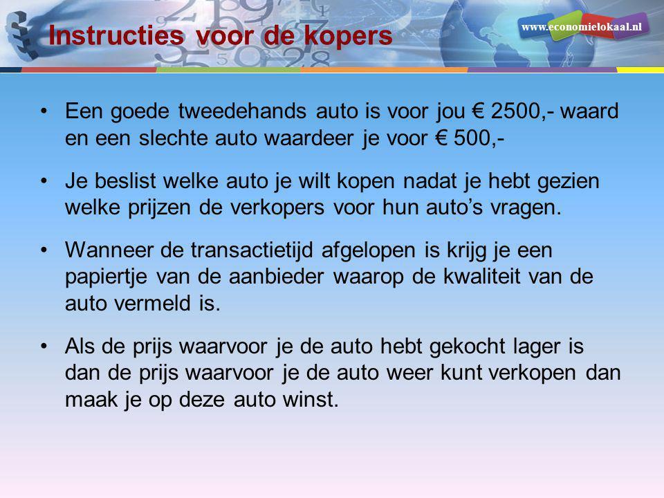 www.economielokaal.nl Instructies voor de kopers •Een goede tweedehands auto is voor jou € 2500,- waard en een slechte auto waardeer je voor € 500,- •