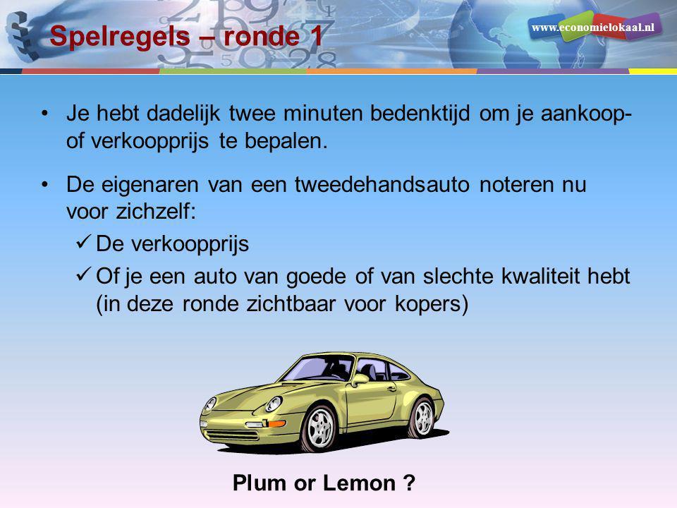 www.economielokaal.nl Spelregels – ronde 1 •Je hebt dadelijk twee minuten bedenktijd om je aankoop- of verkoopprijs te bepalen. •De eigenaren van een