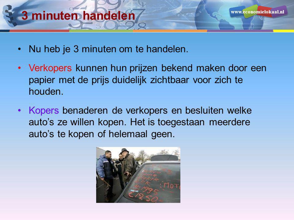 www.economielokaal.nl 3 minuten handelen •Nu heb je 3 minuten om te handelen. •Verkopers kunnen hun prijzen bekend maken door een papier met de prijs