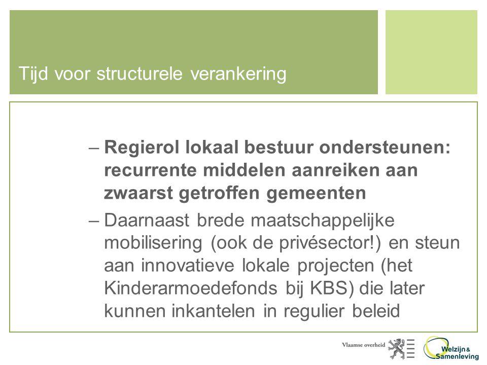 Tijd voor structurele verankering –Regierol lokaal bestuur ondersteunen: recurrente middelen aanreiken aan zwaarst getroffen gemeenten –Daarnaast brede maatschappelijke mobilisering (ook de privésector!) en steun aan innovatieve lokale projecten (het Kinderarmoedefonds bij KBS) die later kunnen inkantelen in regulier beleid