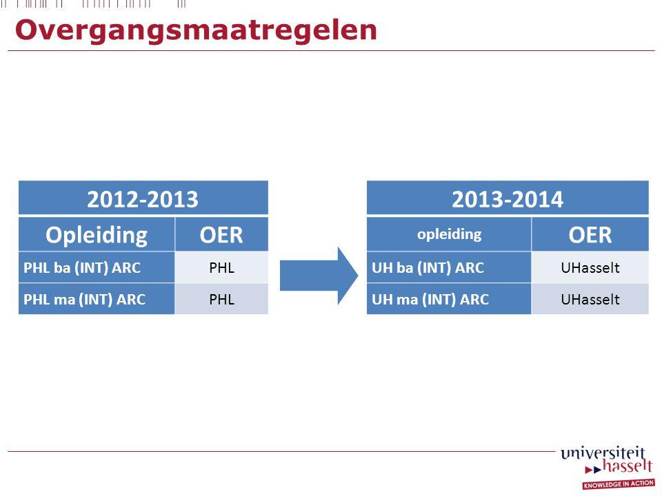 Overgangsmaatregelen 2012-2013 OpleidingOER PHL ba (INT) ARCPHL PHL ma (INT) ARCPHL 2013-2014 opleiding OER UH ba (INT) ARCUHasselt UH ma (INT) ARCUHasselt