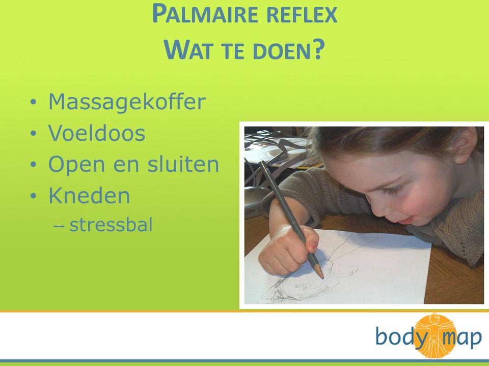 P ALMAIRE REFLEX W AT TE DOEN ? • Massagekoffer • Voeldoos • Open en sluiten • Kneden – stressbal