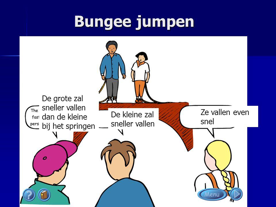 Bungee jumpen De grote zal sneller vallen dan de kleine bij het springen De kleine zal sneller vallen Ze vallen even snel