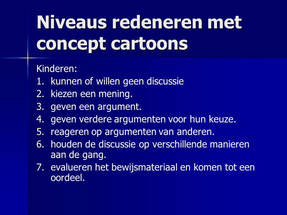 Niveaus redeneren met concept cartoons Kinderen: 1. 1.kunnen of willen geen discussie 2. 2.kiezen een mening. 3. 3.geven een argument. 4. 4.geven verd