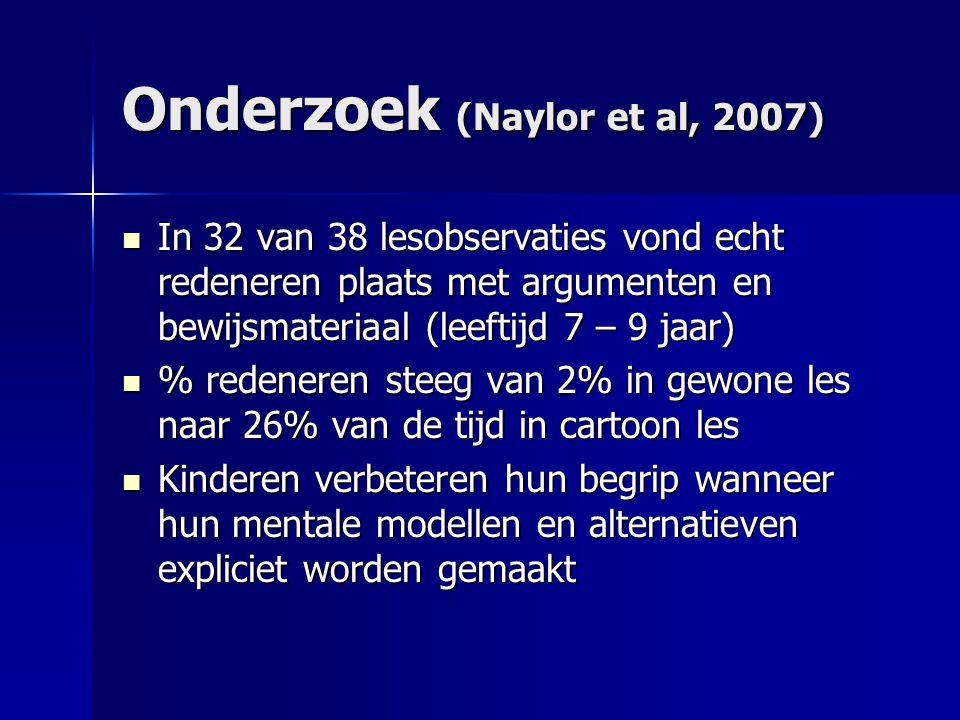 Onderzoek (Naylor et al, 2007)  In 32 van 38 lesobservaties vond echt redeneren plaats met argumenten en bewijsmateriaal (leeftijd 7 – 9 jaar)  % re