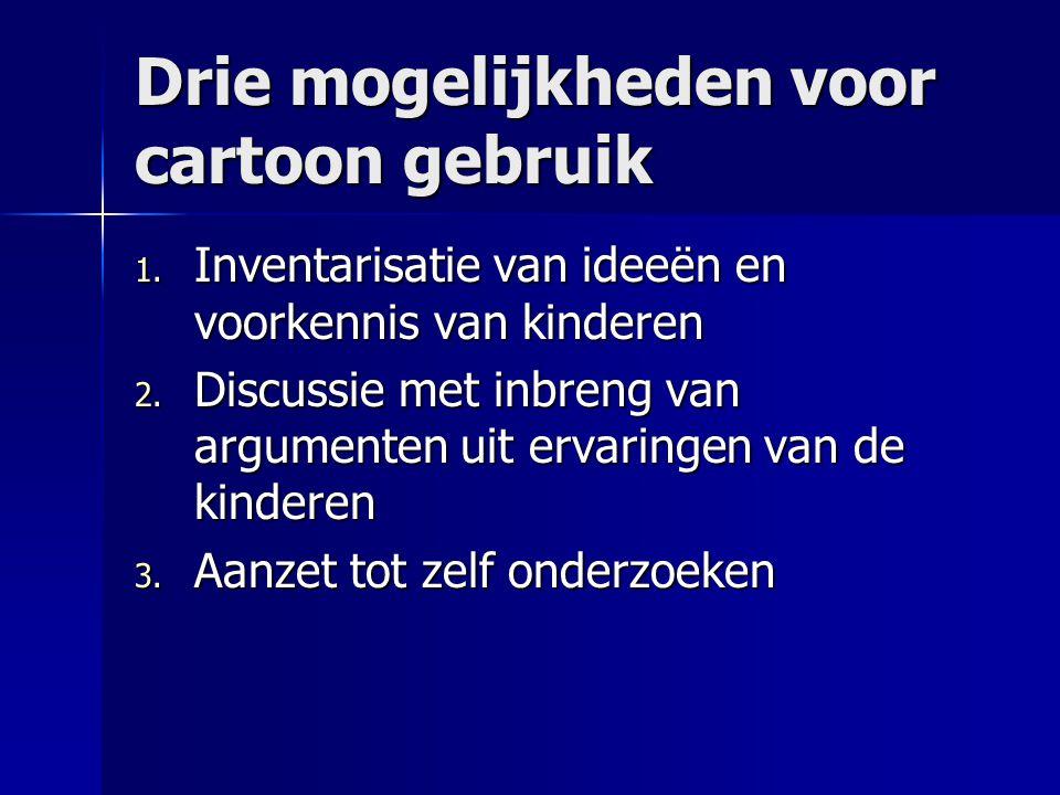 Drie mogelijkheden voor cartoon gebruik 1. Inventarisatie van ideeën en voorkennis van kinderen 2. Discussie met inbreng van argumenten uit ervaringen