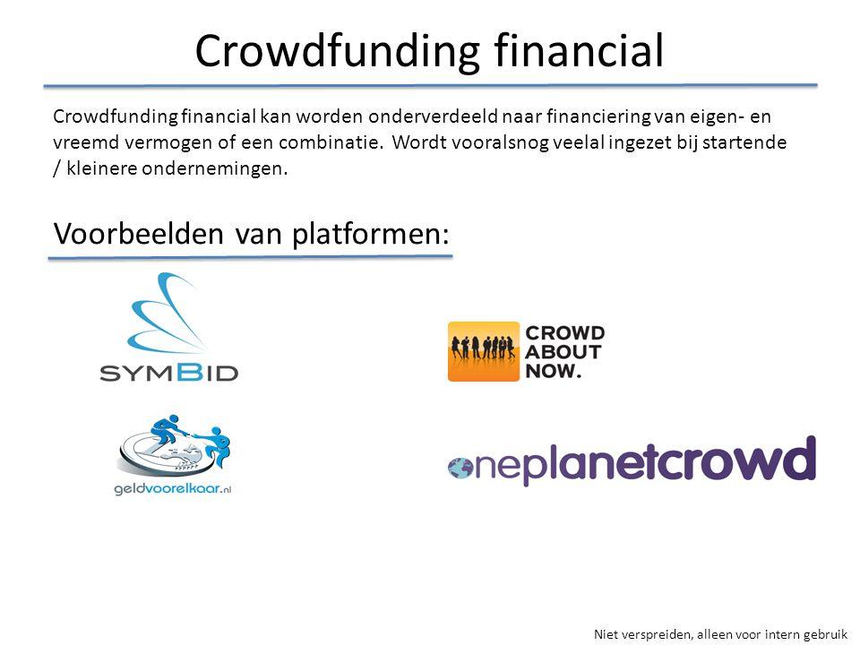 Niet verspreiden, alleen voor intern gebruik Crowdfunding financial Crowdfunding financial kan worden onderverdeeld naar financiering van eigen- en vr