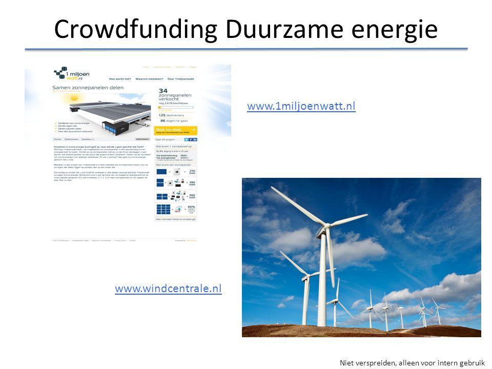 Niet verspreiden, alleen voor intern gebruik Crowdfunding Duurzame energie www.1miljoenwatt.nl www.windcentrale.nl