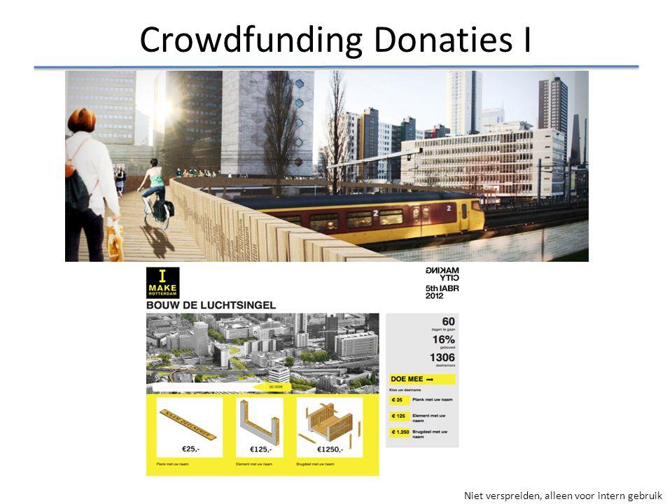 Niet verspreiden, alleen voor intern gebruik Crowdfunding Donaties I