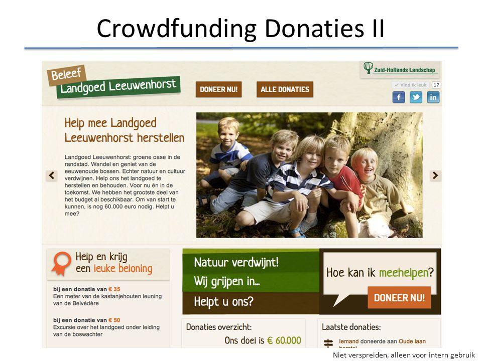 Niet verspreiden, alleen voor intern gebruik Crowdfunding Donaties II