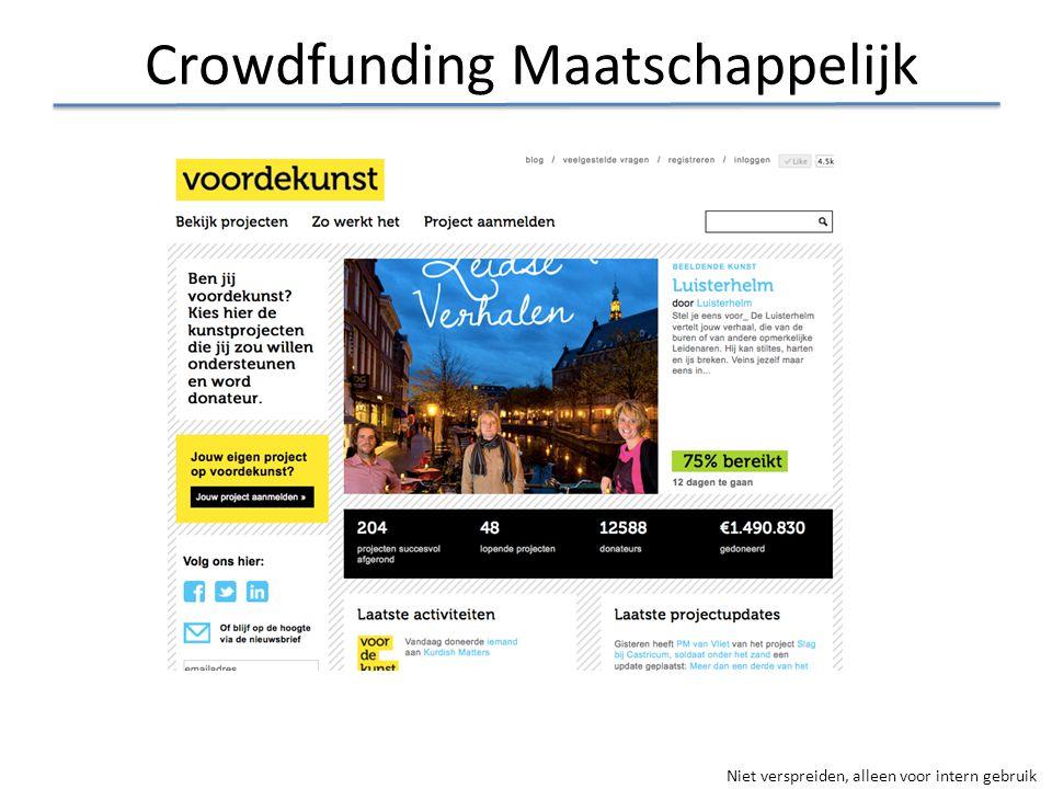 Niet verspreiden, alleen voor intern gebruik Crowdfunding Maatschappelijk