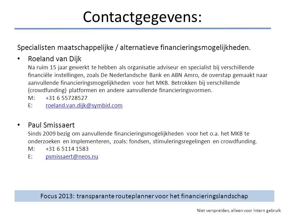 Niet verspreiden, alleen voor intern gebruik Contactgegevens: Specialisten maatschappelijke / alternatieve financieringsmogelijkheden. • Roeland van D