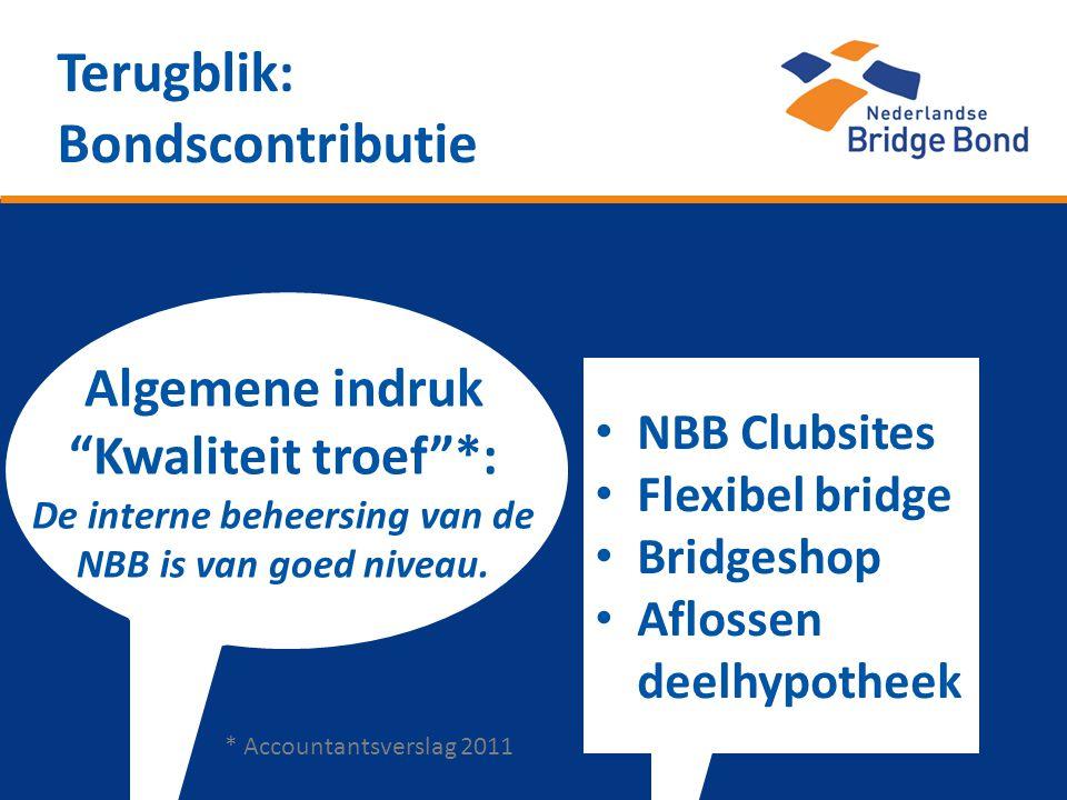 """Terugblik: Bondscontributie Algemene indruk """"Kwaliteit troef""""*: De interne beheersing van de NBB is van goed niveau. • NBB Clubsites • Flexibel bridge"""
