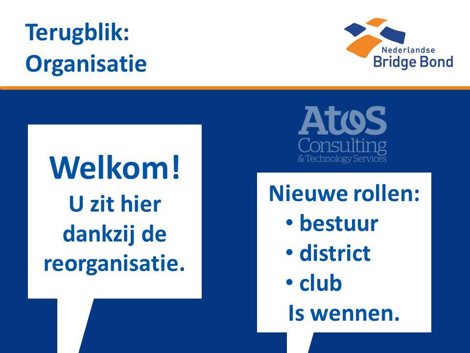Terugblik: Organisatie Welkom! U zit hier dankzij de reorganisatie. Nieuwe rollen: • bestuur • district • club Is wennen.