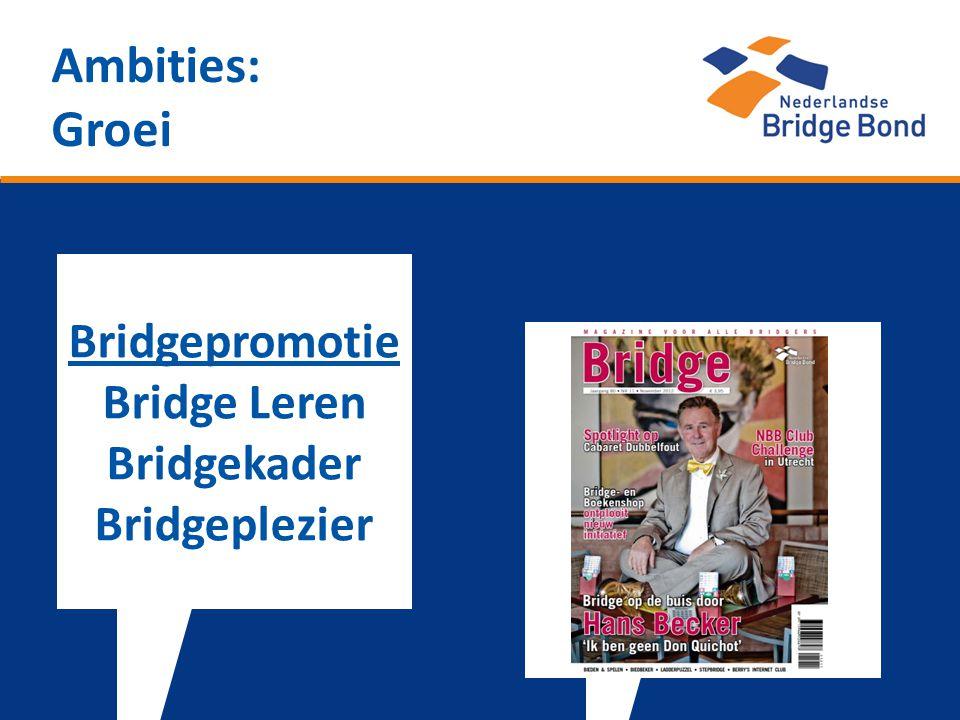 Ambities: Groei Bridgepromotie Bridge Leren Bridgekader Bridgeplezier
