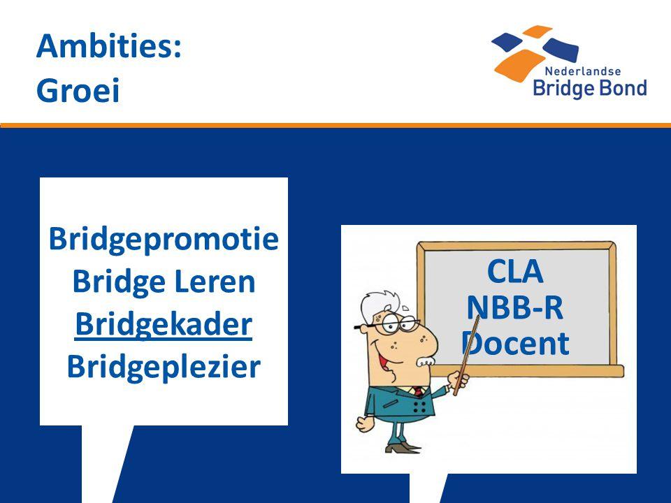 Ambities: Groei Bridgepromotie Bridge Leren Bridgekader Bridgeplezier CLA NBB-R Docent