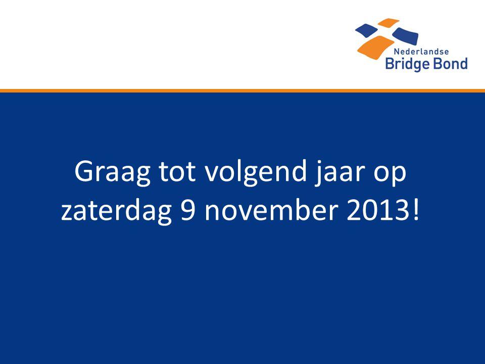 Graag tot volgend jaar op zaterdag 9 november 2013!