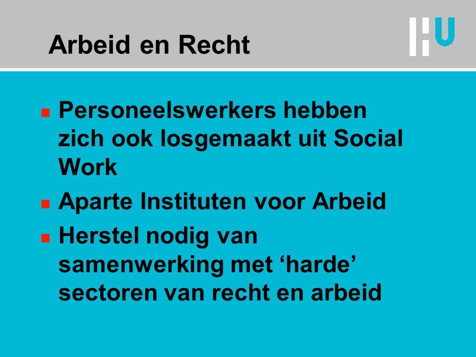 Arbeid en Recht n Personeelswerkers hebben zich ook losgemaakt uit Social Work n Aparte Instituten voor Arbeid n Herstel nodig van samenwerking met 'harde' sectoren van recht en arbeid