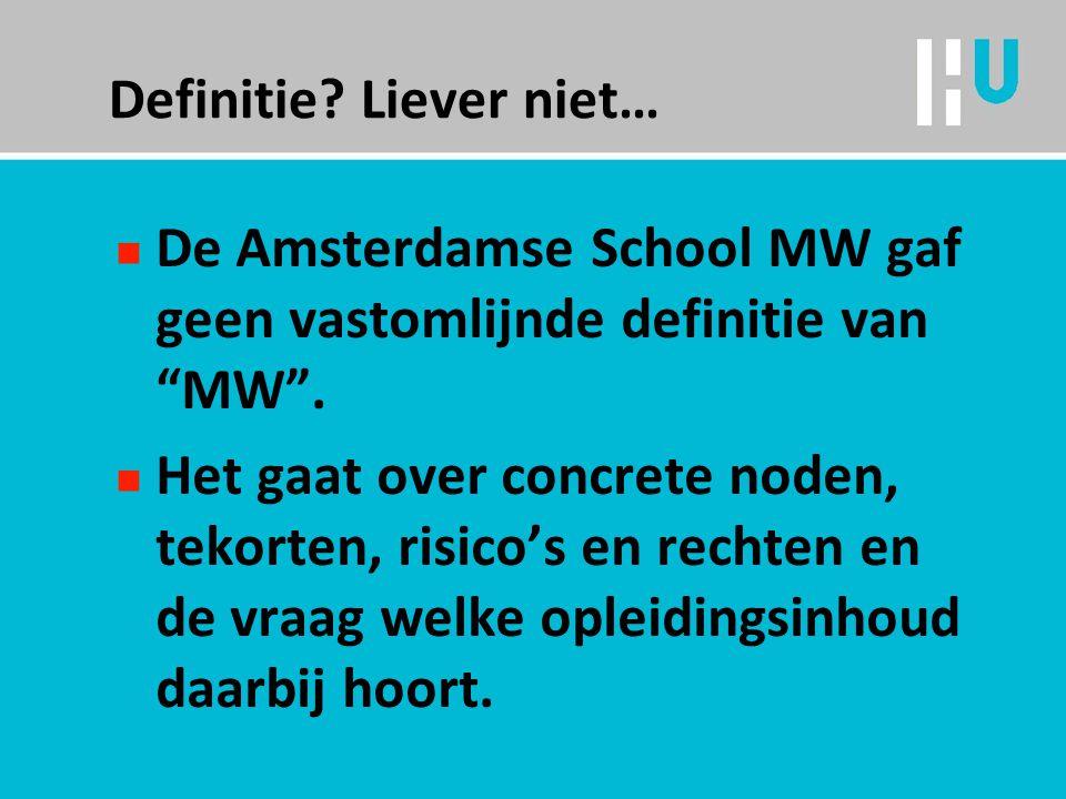 Definitie.Liever niet… n De Amsterdamse School MW gaf geen vastomlijnde definitie van MW .